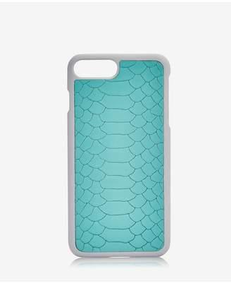 GiGi New York Iphone 7 Plus Hard-Shell Case In Bermuda Blue Embossed Python