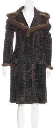 Zandra Rhodes Reversible Sable-Trimmed Broadtail Coat