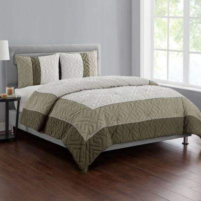 VCNY home VCNY Home Tristian 3-Piece Framed Embossed King Comforter Set in Taupe