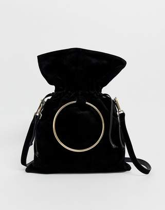 Urban Code Urbancode real leather slouchy bag with overiszed ring handle and strap
