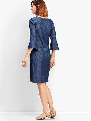 Talbots Denim Flounce-Sleeve Shift Dress