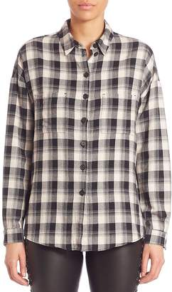 SET Women's Plaid Button-Front Shirt