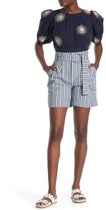Free People Stripe Utility Shorts