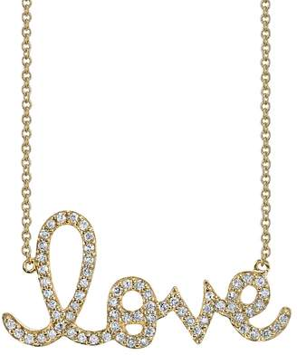 Sydney Evan Large Diamond Love Script Necklace - Yellow Gold