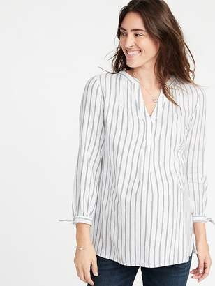 Old Navy Maternity Tie-Cuff Striped Twill Tunic