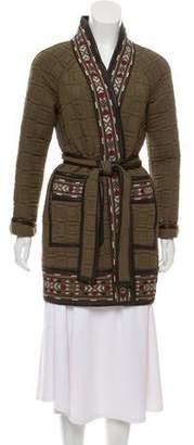 Rebecca Taylor Leather-Trimmed Short Coat