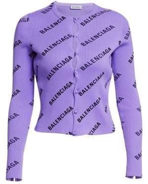 Balenciaga Rib-Knit Logo Cardigan