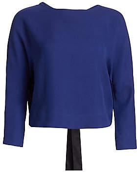 Giorgio Armani Women's Silk-Blend Crepe Long-Sleeve Tie-Back Blouse