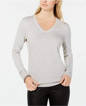 Tommy Hilfiger Cotton Argyle Embellishments Sweater