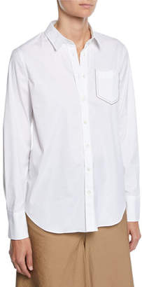 Brunello Cucinelli Long-Sleeve Button-Front Cotton Poplin Shirt w/ Monili Pocket