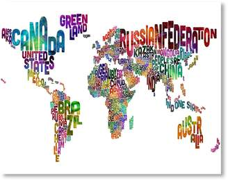 Americanflat World Map Words Wall Art, Print Only 42x60cm