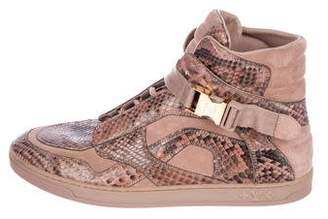 Louis Vuitton Snakeskin High-Top Sneakers