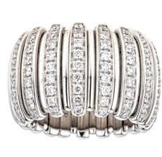 ZYDO Stretch 18k White Gold Diamond Bar Ring