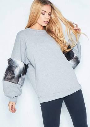 Missy Empire Missyempire Helen Grey Monochrome Faux Fur Sleeve Jumper
