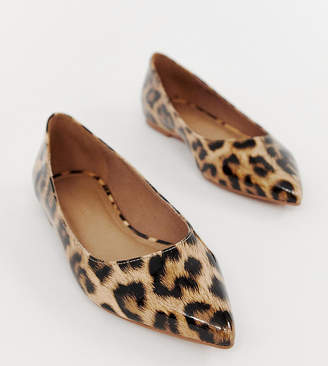 Asos DESIGN Latch pointed ballet flats in leopard print