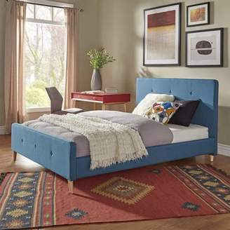Weston Home Chelsea Lane Wallace Bedroom Button Tufted Queen Size Bed, Blue Bed Color
