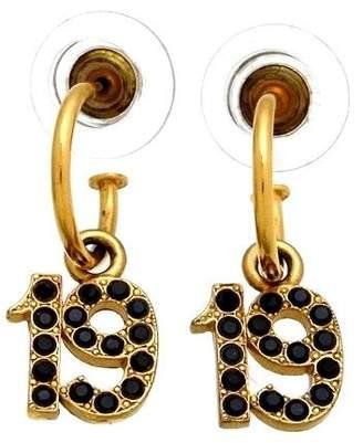 Chanel Gold Tone Metal No.19 Rhinestone Dangle Stud Earrings
