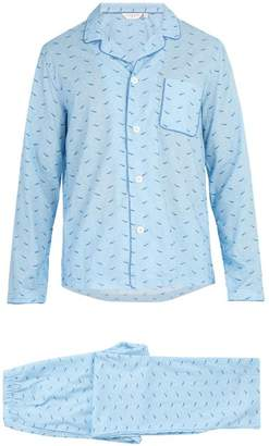 Derek Rose Wave Print Cotton Pyjama Set - Mens - Blue