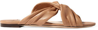 Jimmy Choo Leila Knotted Leather Slides - Tan