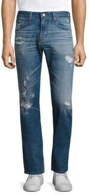 AG Jeans Matchbox Slim Straight Distressed Jeans