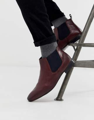 Silver Street Chelsea Boot with Contrast Gusset in Oxblood
