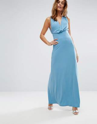 Asos Design Pleat Back Wrap Front Maxi Dress