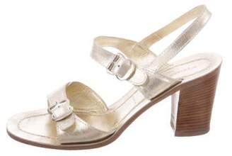Sigerson Morrison Metallic Ankle Strap Sandals