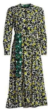 Proenza Schouler Floral Printed Tie-Waist Midi Dress