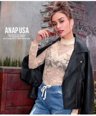 ANAP (アナップ) - アナップ ハイネックフリル総レーストップス