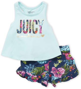 Juicy Couture Infant Girls) Two-Piece Logo Tank & Floral Shorts Set