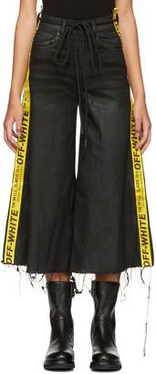 Off-White Black Denim Strap Capri Jeans $630 thestylecure.com