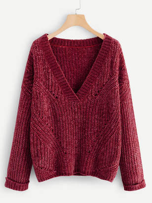 Shein Plus Cuffed Sleeve Eyelet Chenille Sweater