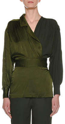 Marni Long-Sleeve Faux V-Neck Self-Belt Crepe Satin Blouse