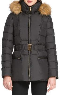 Donna Karan Faux Fur-Trimmed Down Jacket
