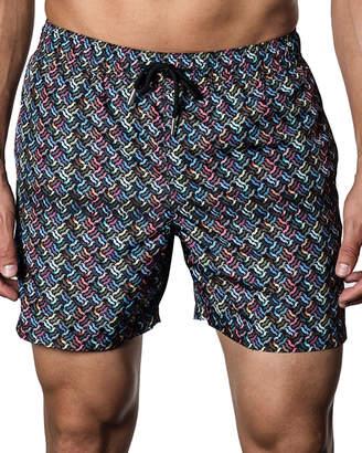 Jared Lang Mustache-Print Swim Shorts