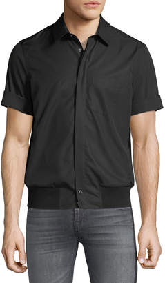 Neil Barrett Men's Rib-Trim Short-Sleeve Shirt