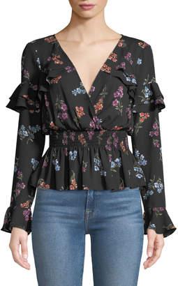 LIKELY Kiersten Floral Smocked Long-Sleeve Ruffle Blouse