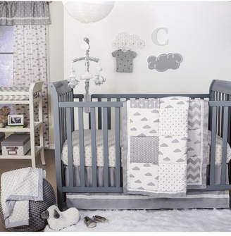 The Peanut Shell The Grey Patchy Cloud Crib 4-Piece Crib Set Bedding