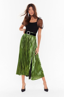 Nasty Gal The Pleat is On Metallic Skirt