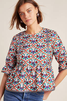 Mynah Designs Birdie Embroidered Peplum Blouse