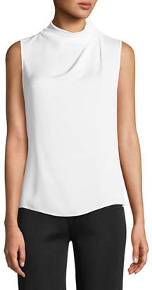 Giorgio Armani Ruched High-Neck Sleeveless Silk Shell Top
