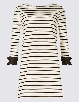Marks and Spencer Cotton Rich Striped Ruffle Cuff Tunic