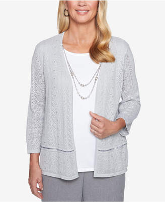 Alfred Dunner Smart Investments Pointelle Layered-Look Necklace Top