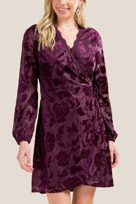 francesca's Cateleya Burnout Velvet Wrap Dress - Purple