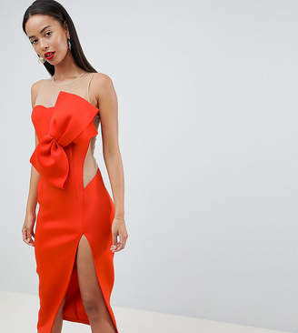 Asos Tall DESIGN Tall Bow Front Mesh Side Midi Dress