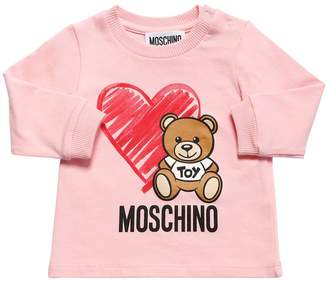 Moschino Printed L/S Cotton Jersey T-Shirt