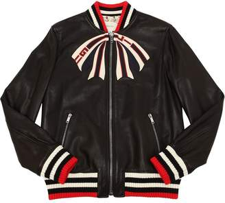 Gucci Embroidered Smooth Leather Jacket