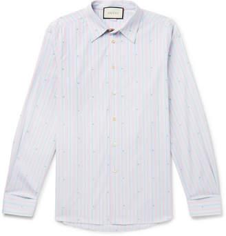 3a6f7d952a18 Gucci Embroidered Striped Cotton Shirt - Men - Blue