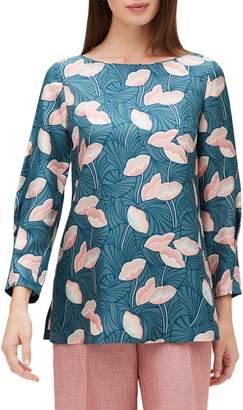 Lafayette 148 New York Caddie Graphic Floral Silk Blouse