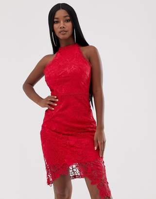 Lipsy lace midi wrap dress in fuschia